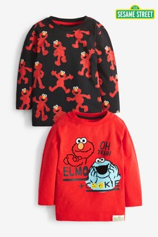 2 Pack Cookie Monster And Elmo Long Sleeve T-Shirts (3mths-8yrs)