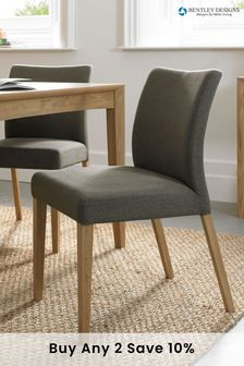 Set of 2 Bergen Oak Upholstered Dining Chairs By Bentley Designs