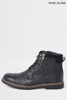 River Island Black Double Zip Brighton Move On Boots