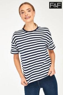 F&F Boyfriend Black Stripe Top T-Shirt