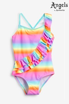 Angels by Accessorize Pink Ombre Frill Swimsuit