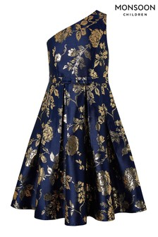 Monsoon Navy Connie Jacquard Prom Dress