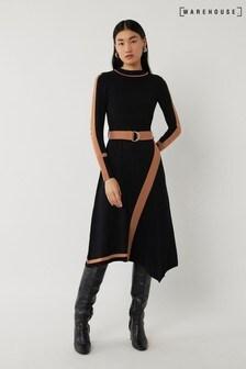 Warehouse Black Blocked Asymmetric Dress