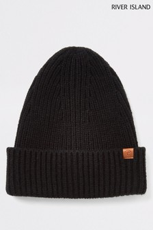 River Island Black Fisherman Beanie