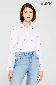 Esprit White Easy All Over Printed Shirt