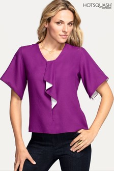 HotSquash Purple River-Tie Bat Sleeved Top