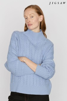 Jigsaw Blue Slouchy Cable Jumper