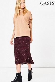Oasis Red Animal Bias Cut Skirt
