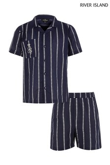 River Island Navy Woven Stripe Set