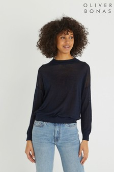Oliver Bonas Blue Linen Mix Jumper