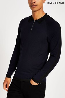 River Island Navy Luxe Polo