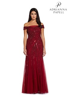 Adrianna Papell Red Beaded Off Shoulder Gown