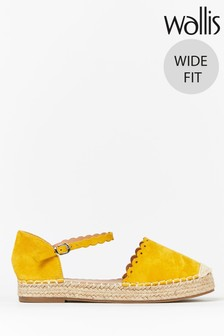 Wallis Wander Wide Fit Yellow Scallop Espadrilles
