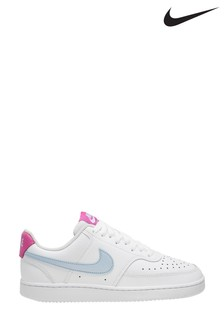 Nike White/Blue Court Vision Low Trainers