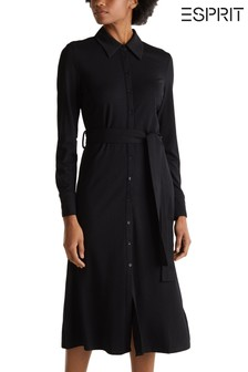Esprit Black Long Belted Shirt Dress