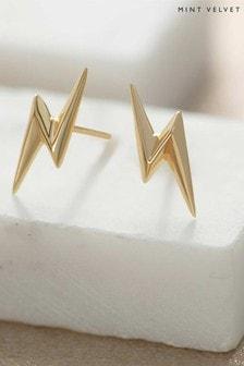 Mint Velvet Gold Lightning Bolt Earrings