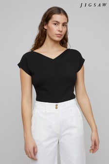 Jigsaw Black Bardot V-Neck Top