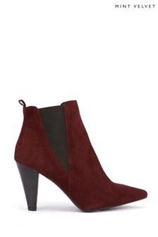 Mint Velvet Kayla Burgundy Textured Boots