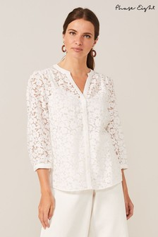 Phase Eight Cream Burnout Floral Blouse