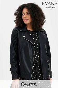 Evans Curve Black Faux Leather Biker Jacket