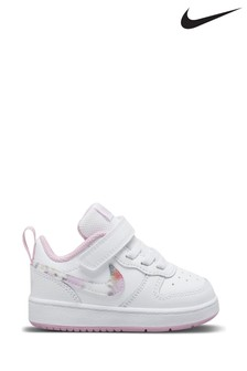 Nike White Floral Court Borough Low Velcro Trainers