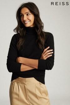 Reiss Black Colette Wool Cashmere Blend Roll Neck Jumper