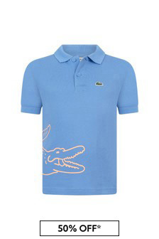 Lacoste Kids Boys Blue Cotton Polo Top