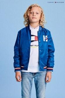 Tommy Hilfiger Blue Reversible Logo Bomber Jacket