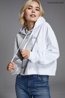 Szara bluza z kapturem i okrągłym logo Calvin Klein Jeans