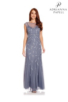 Adrianna Papell Blue Cap Sleeve Beaded Gown
