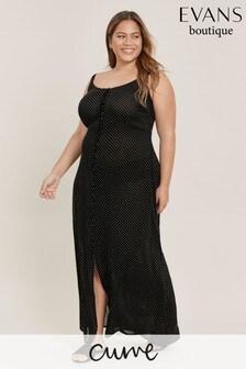 Evans Curve Black Polka Dot Button Beach Dress