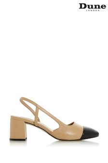 Dune London Croft Camel Leather Mid Block Heel Slingback Pumps
