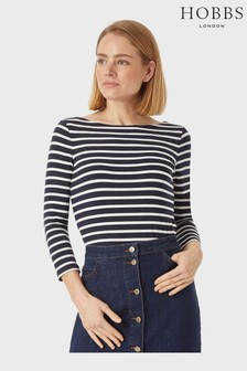 Hobbs Blue Striped Sonya Top