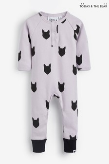 Tobias & The Bear Purple Lilac Fox Long Placket Romper
