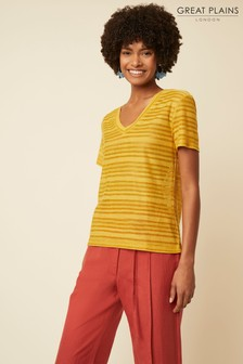Great Plains Yellow Camilla Textured V-Neck Top