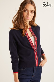 Boden Blue York Grosgrain Cardigan