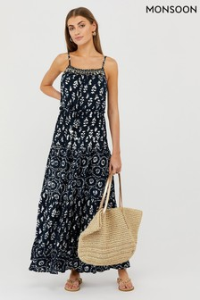 Monsoon Navy Anjali Batik Maxi Dress