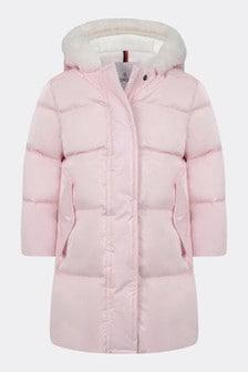 Baby Girls Bright Pink Down Padded Coat