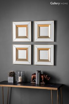 Set of 4 Phantom Square Bevelled Mirrors by Gallery Direct