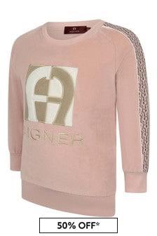 Aigner Girls Pink Velour Sweater