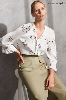 Phase Eight Cream Winen Bamboo Print Blouse