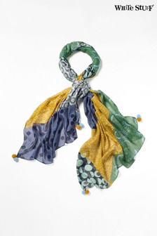 White Stuff Blue Margot Printed Modal Scarf