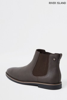 River Island Brown Gusset Chelsea Boots