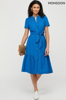Monsoon Blue Hope Textured Tiered Midi Dress