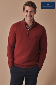 Crew Clothing Red Merino Cashmere 1/2 Zip Jumper