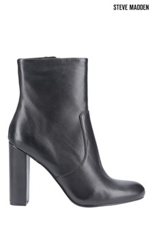 Steve Madden Black Editor Zip Ankle Boots