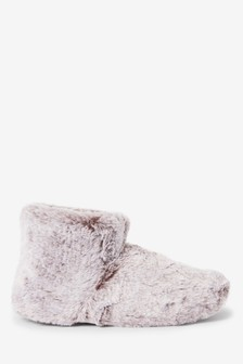 Tipped Faux Fur Slipper Boots