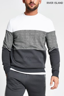 River Island Grey Slim Check Blocked Crew Top
