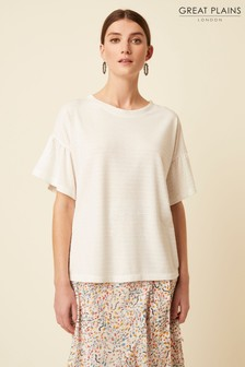 Great Plains White Clara Jersey Round Neck Top
