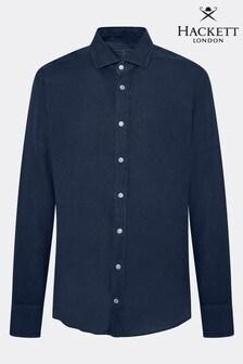 Hackett Blue Garment Dye Linen Shirt